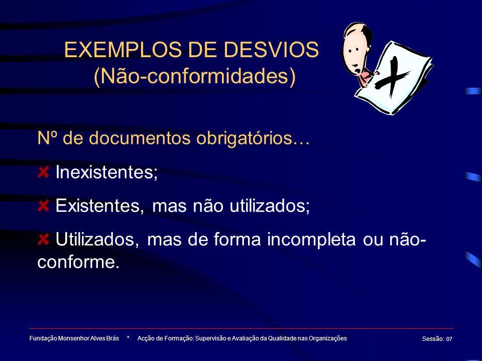 EXEMPLOS DE DESVIOS (Não-conformidades) Fundação Monsenhor Alves Brás * Acção de Formação: Supervisão e Avaliação da Qualidade nas Organizações Sessão