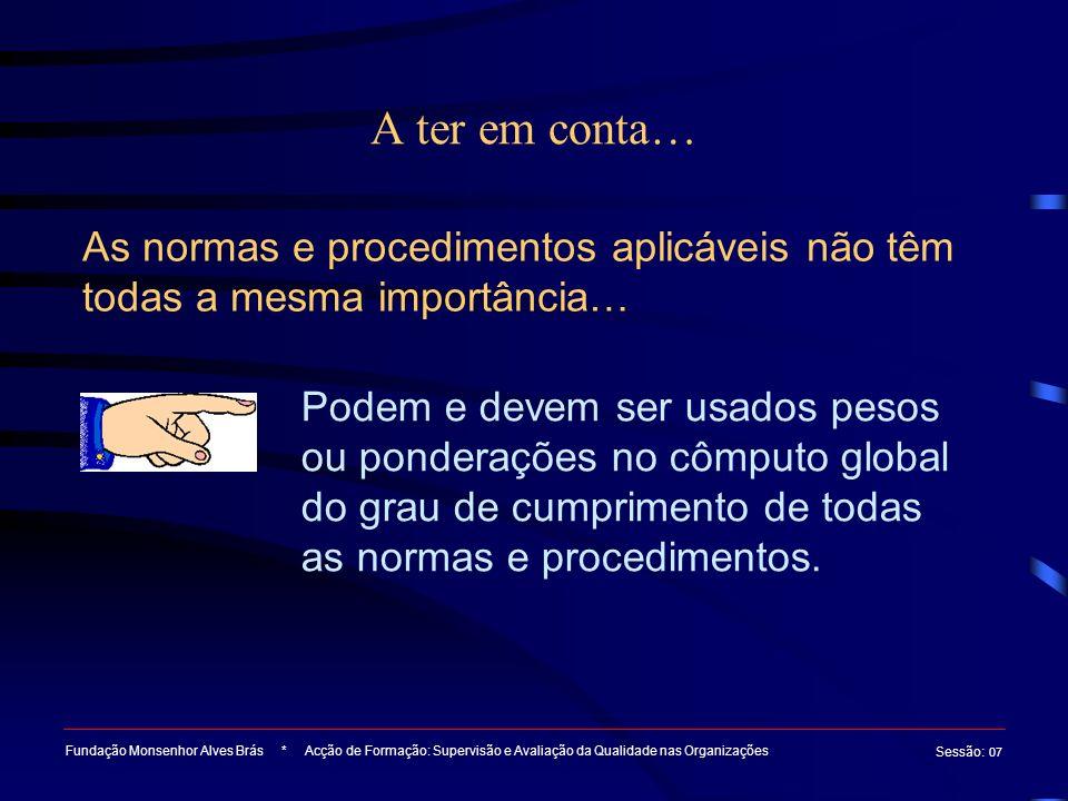 A ter em conta… Fundação Monsenhor Alves Brás * Acção de Formação: Supervisão e Avaliação da Qualidade nas Organizações Sessão : 07 As normas e proced