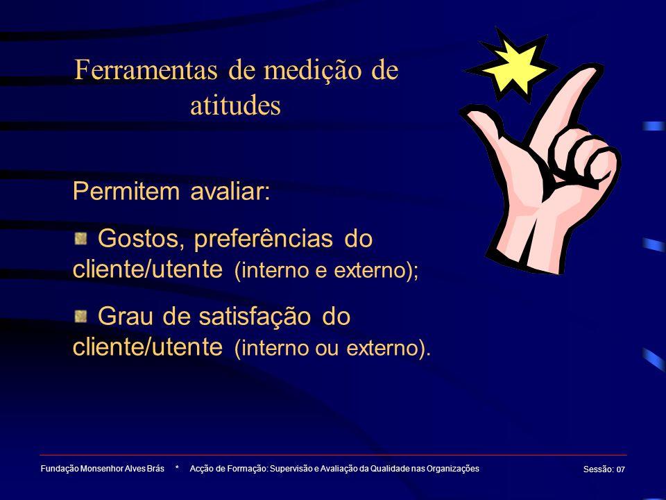 Ferramentas de medição de atitudes Fundação Monsenhor Alves Brás * Acção de Formação: Supervisão e Avaliação da Qualidade nas Organizações Sessão : 07