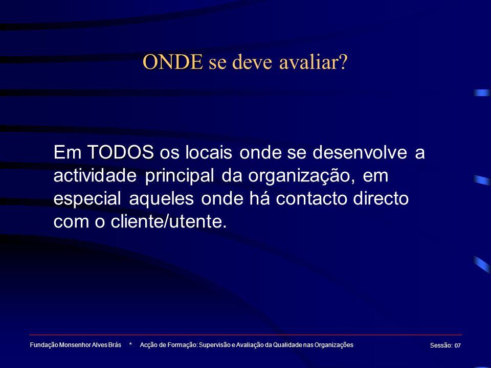 Ferramentas de análise e de avaliação da Qualidade nas Organizações Fundação Monsenhor Alves Brás * Acção de Formação: Supervisão e Avaliação da Qualidade nas Organizações Sessão : 07