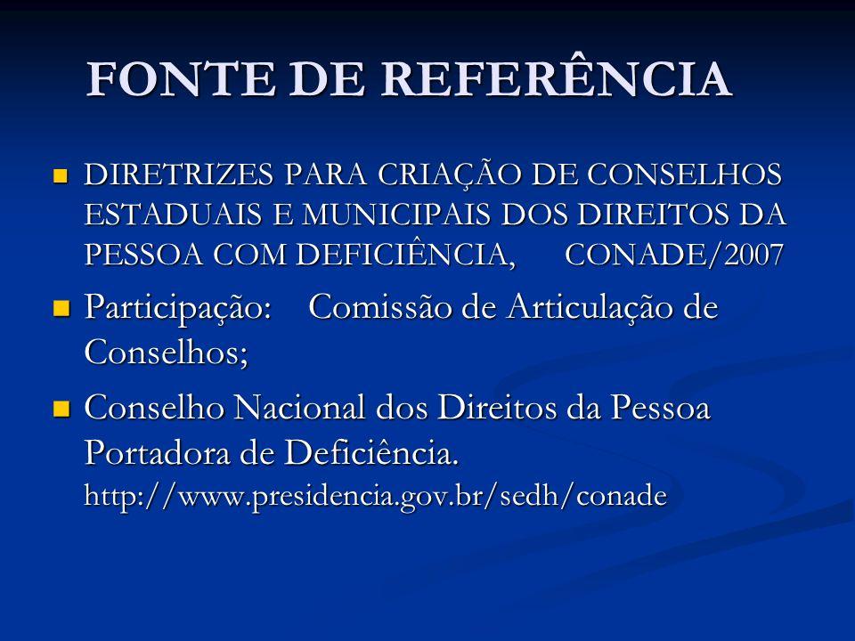 FONTE DE REFERÊNCIA DIRETRIZES PARA CRIAÇÃO DE CONSELHOS ESTADUAIS E MUNICIPAIS DOS DIREITOS DA PESSOA COM DEFICIÊNCIA,CONADE/2007 DIRETRIZES PARA CRI