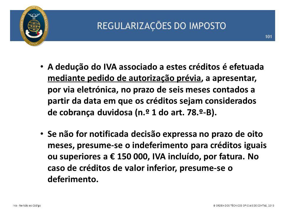 REGULARIZAÇÕES DO IMPOSTO A dedução do IVA associado a estes créditos é efetuada mediante pedido de autorização prévia, a apresentar, por via eletróni