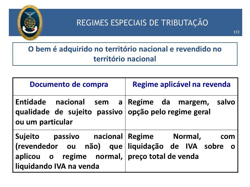 O bem é adquirido no território nacional e revendido no território nacional Documento de compraRegime aplicável na revenda Entidade nacional sem a qua
