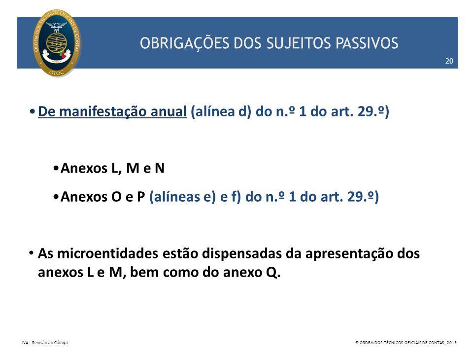 OBRIGAÇÕES DOS SUJEITOS PASSIVOS De manifestação anual (alínea d) do n.º 1 do art. 29.º) Anexos L, M e N Anexos O e P (alíneas e) e f) do n.º 1 do art