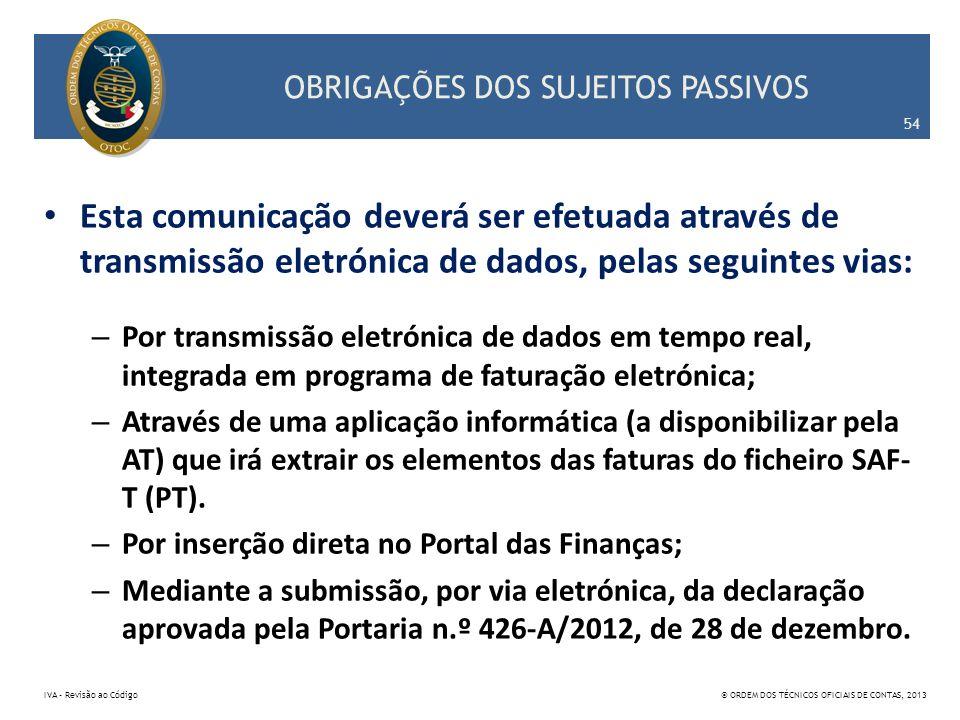 OBRIGAÇÕES DOS SUJEITOS PASSIVOS Esta comunicação deverá ser efetuada através de transmissão eletrónica de dados, pelas seguintes vias: – Por transmis