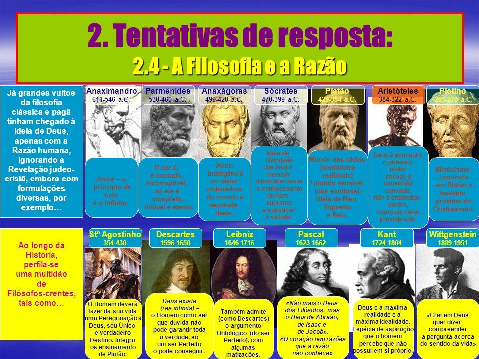 2.4 - A Filosofia e a Razão 2. Tentativas de resposta: 2.4 - A Filosofia e a Razão Já grandes vultos da filosofia clássica e pagã tinham chegado à ide