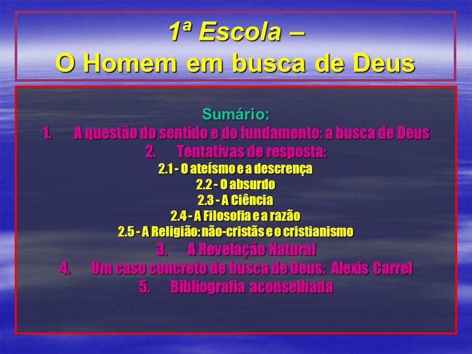 Sumário: 1.A questão do sentido e do fundamento: a busca de Deus 2.Tentativas de resposta: 2.1 - O ateísmo e a descrença 2.2 - O absurdo 2.3 - A Ciênc