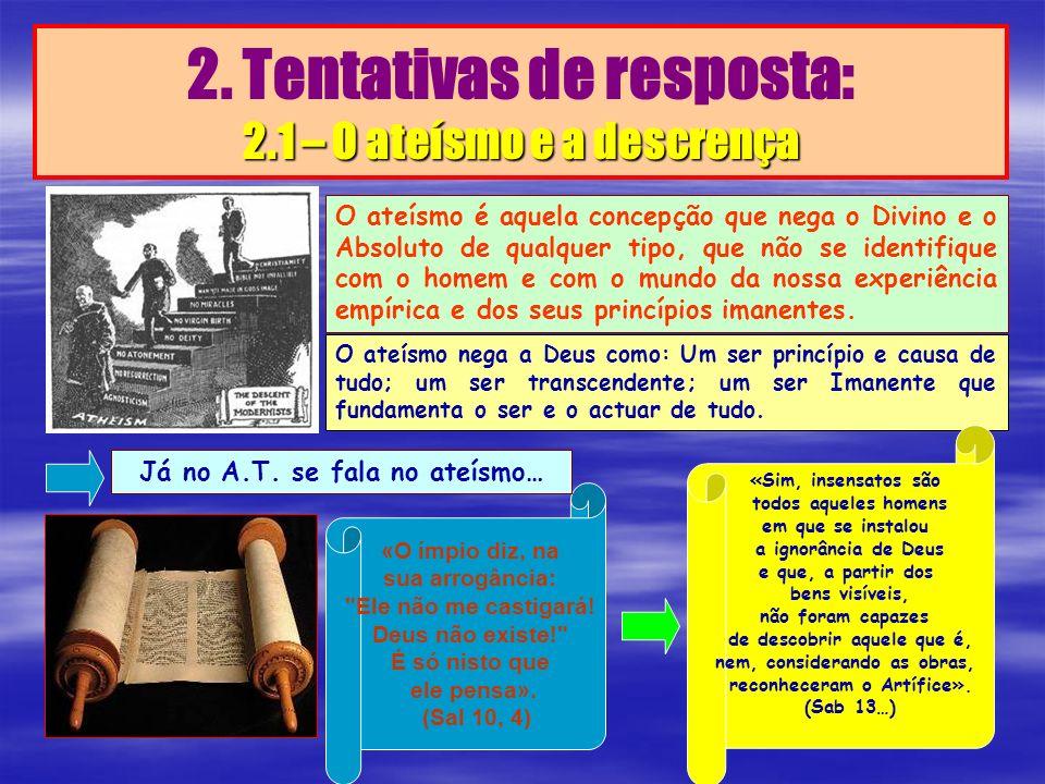 2.1 – O ateísmo e a descrença 2. Tentativas de resposta: 2.1 – O ateísmo e a descrença O ateísmo é aquela concepção que nega o Divino e o Absoluto de