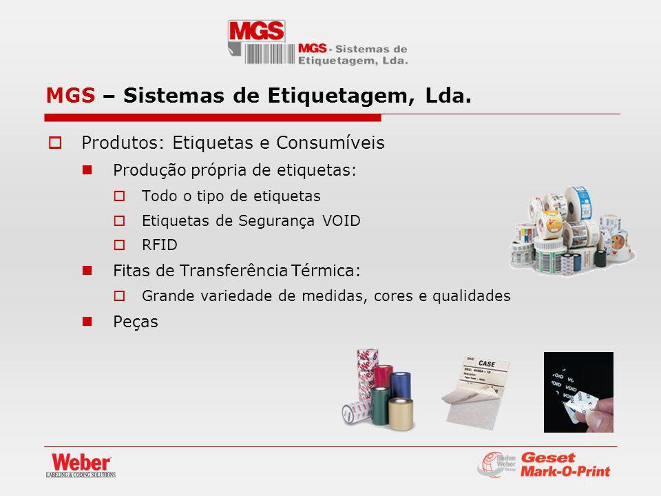 Produtos: Etiquetas e Consumíveis Produção própria de etiquetas: Todo o tipo de etiquetas Etiquetas de Segurança VOID RFID Fitas de Transferência Térm
