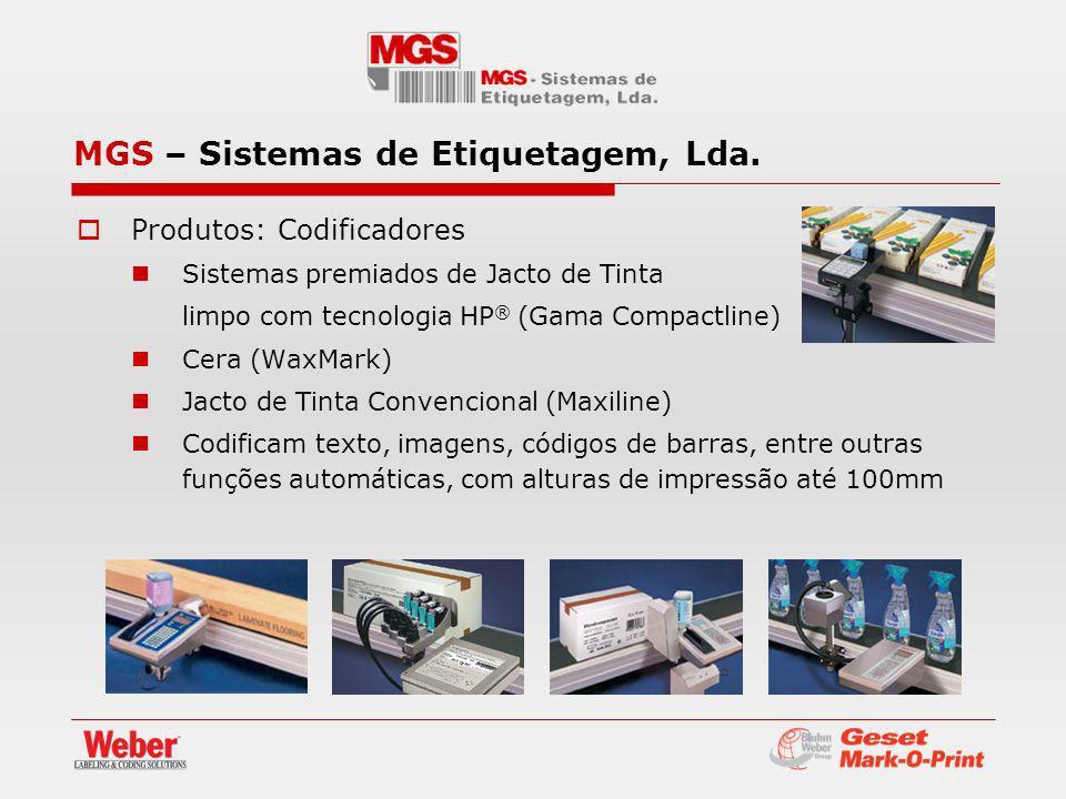 Produtos: Codificadores Sistemas premiados de Jacto de Tinta limpo com tecnologia HP ® (Gama Compactline) Cera (WaxMark) Jacto de Tinta Convencional (