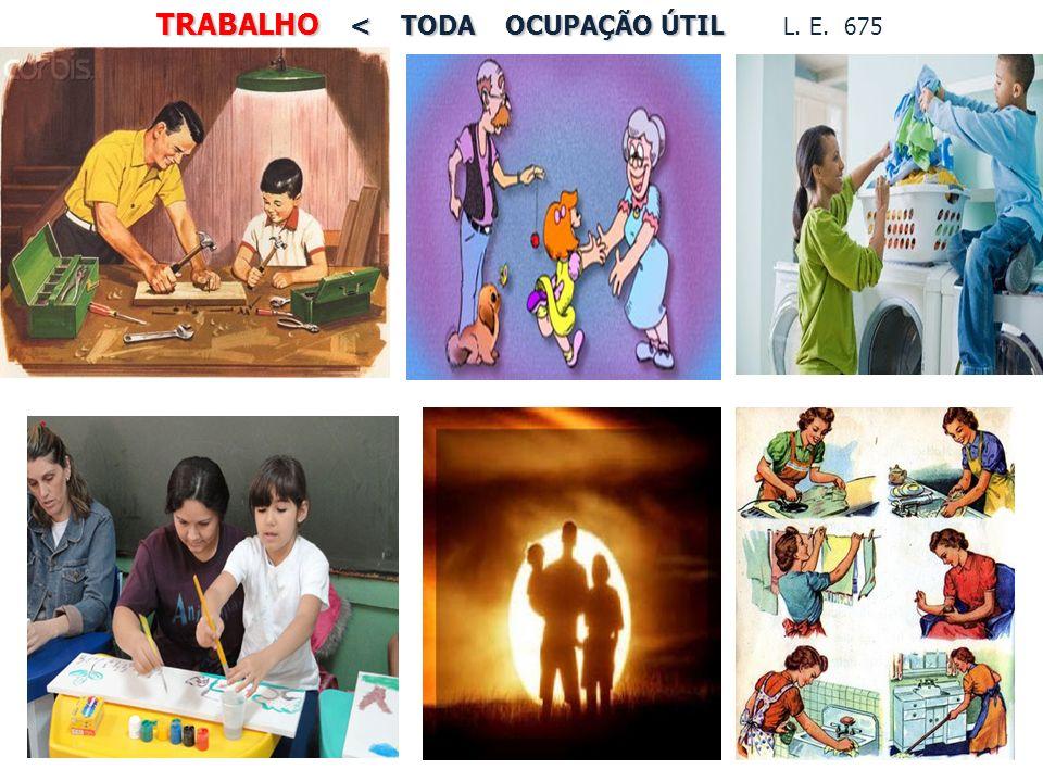 TRABALHO < TODA OCUPAÇÃO ÚTIL TRABALHO < TODA OCUPAÇÃO ÚTIL L. E. 675