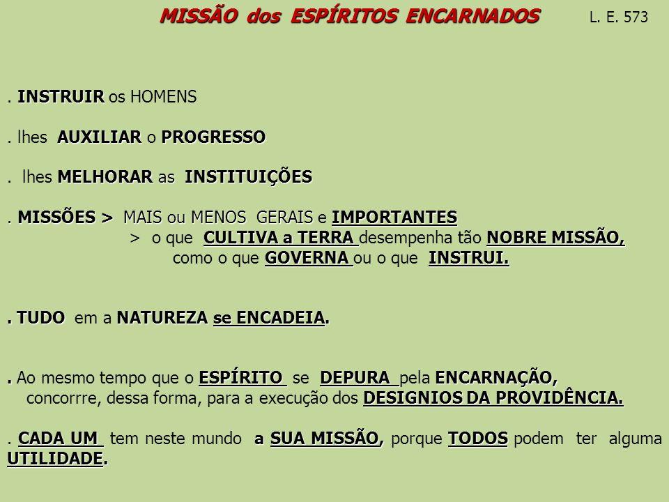 MISSÃO dos ESPÍRITOS ENCARNADOS MISSÃO dos ESPÍRITOS ENCARNADOS L. E. 573 INSTRUIR. INSTRUIR os HOMENS AUXILIAR PROGRESSO. lhes AUXILIAR o PROGRESSO M
