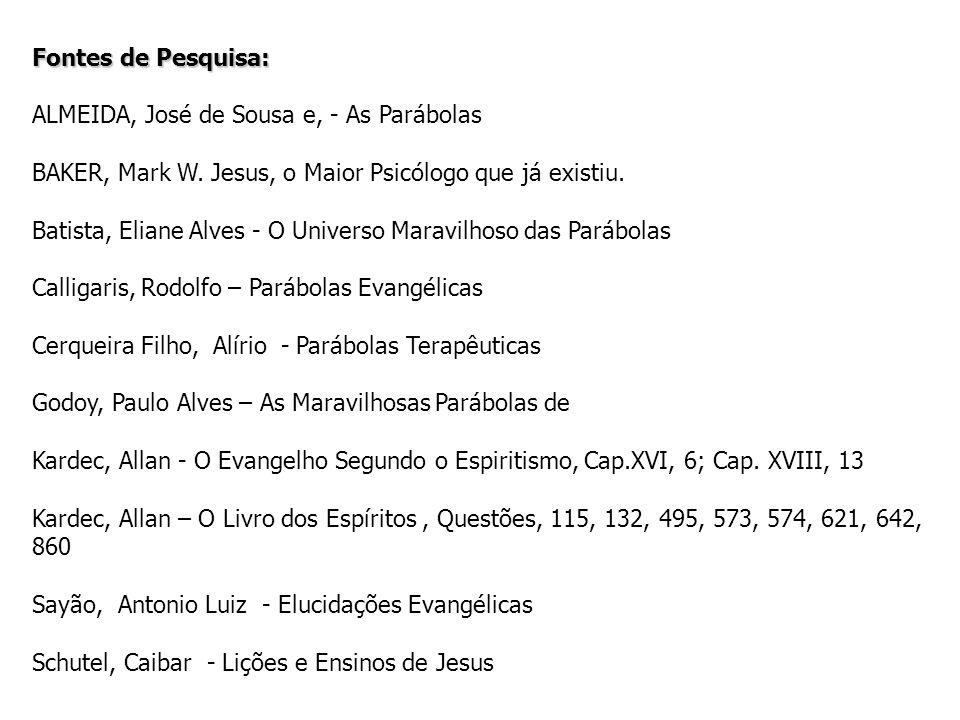 Fontes de Pesquisa: ALMEIDA, José de Sousa e, - As Parábolas BAKER, Mark W. Jesus, o Maior Psicólogo que já existiu. Batista, Eliane Alves - O Univers