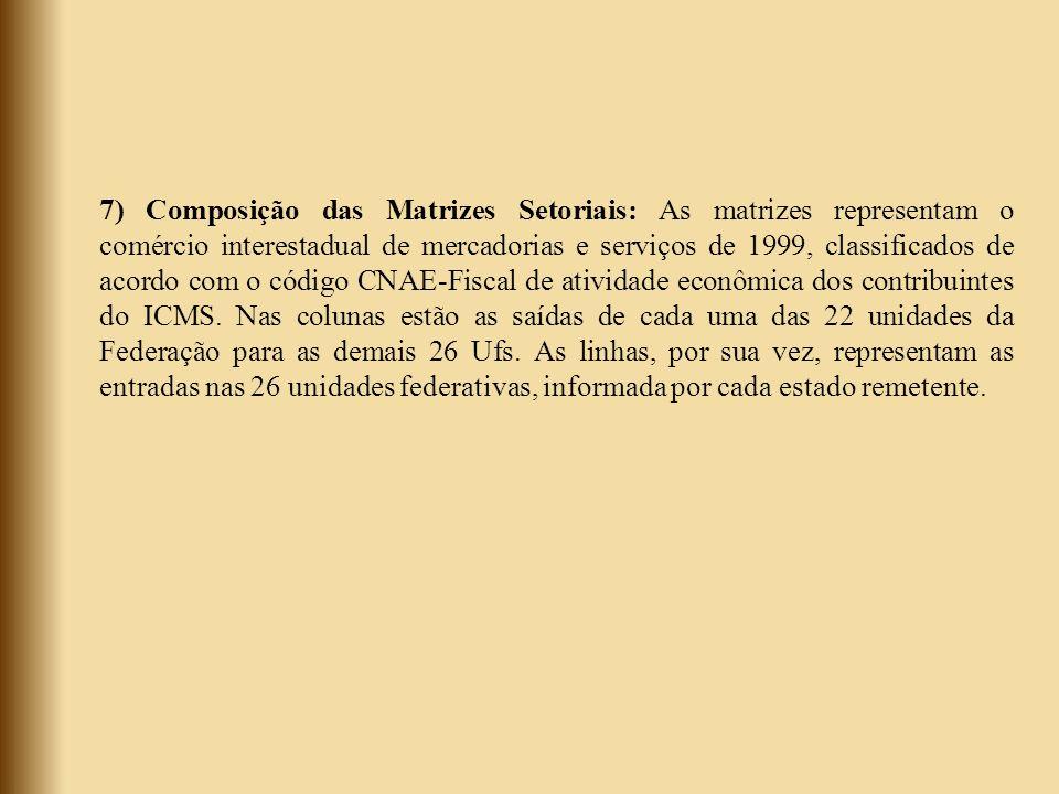 7) Composição das Matrizes Setoriais: As matrizes representam o comércio interestadual de mercadorias e serviços de 1999, classificados de acordo com o código CNAE-Fiscal de atividade econômica dos contribuintes do ICMS.