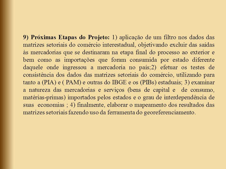 9) Próximas Etapas do Projeto: 1) aplicação de um filtro nos dados das matrizes setoriais do comércio interestadual, objetivando excluir das saídas às mercadorias que se destinaram na etapa final do processo ao exterior e bem como as importações que foram consumida por estado diferente daquele onde ingressou a mercadoria no país;2) efetuar os testes de consistência dos dados das matrizes setoriais do comércio, utilizando para tanto a (PIA) e ( PAM) e outras do IBGE e os (PIBs) estaduais; 3) examinar a natureza das mercadorias e serviços (bens de capital e de consumo, matérias-primas) importados pelos estados e o grau de interdependência de suas economias ; 4) finalmente, elaborar o mapeamento dos resultados das matrizes setoriais fazendo uso da ferramenta do georeferenciamento.