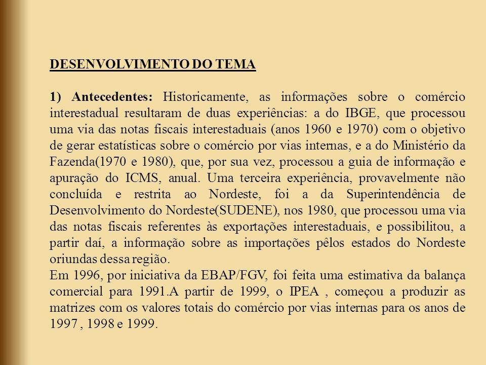 DESENVOLVIMENTO DO TEMA 1) Antecedentes: Historicamente, as informações sobre o comércio interestadual resultaram de duas experiências: a do IBGE, que