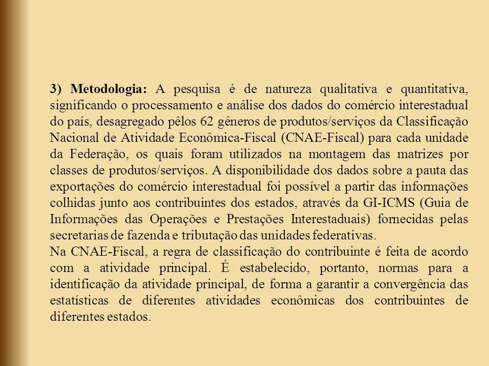 3) Metodologia: A pesquisa é de natureza qualitativa e quantitativa, significando o processamento e análise dos dados do comércio interestadual do paí