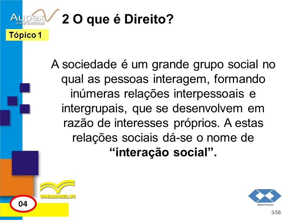 2 O que é Direito? A sociedade é um grande grupo social no qual as pessoas interagem, formando inúmeras relações interpessoais e intergrupais, que se
