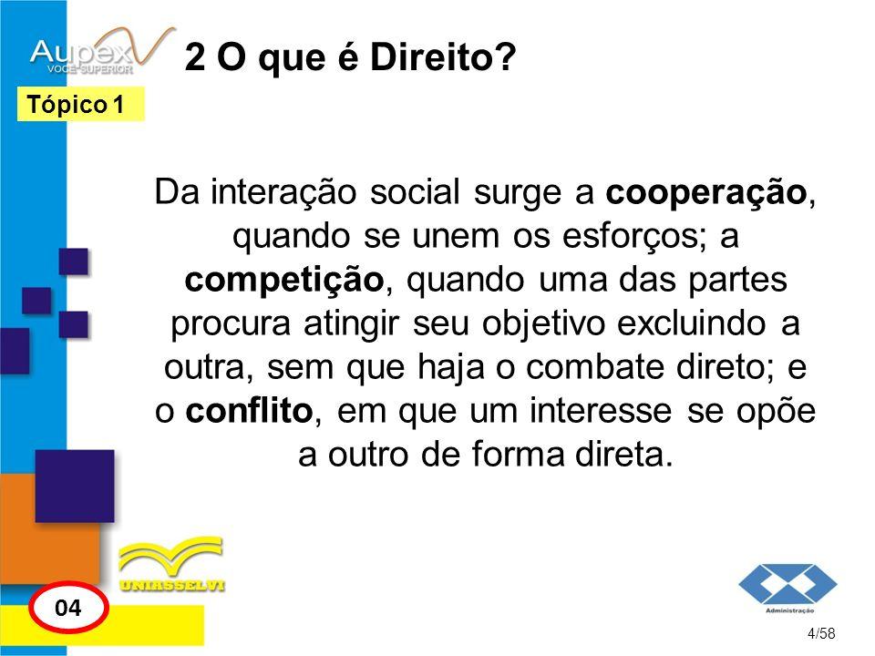 2 O que é Direito? Da interação social surge a cooperação, quando se unem os esforços; a competição, quando uma das partes procura atingir seu objetiv