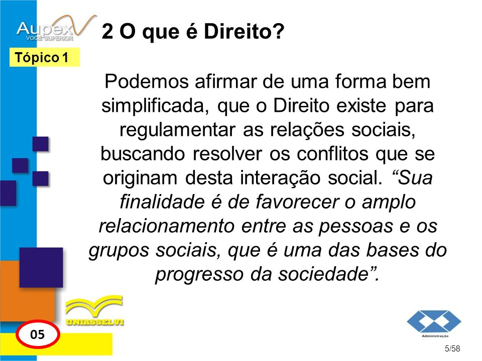 2 O que é Direito? Podemos afirmar de uma forma bem simplificada, que o Direito existe para regulamentar as relações sociais, buscando resolver os con