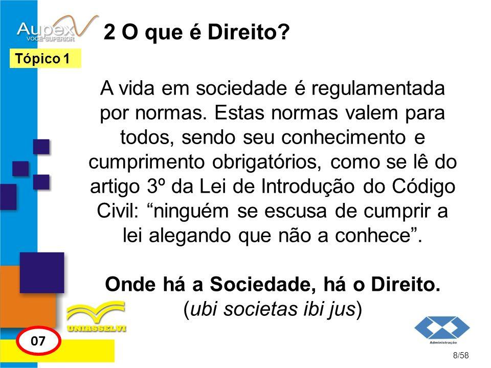 2 O que é Direito? A vida em sociedade é regulamentada por normas. Estas normas valem para todos, sendo seu conhecimento e cumprimento obrigatórios, c