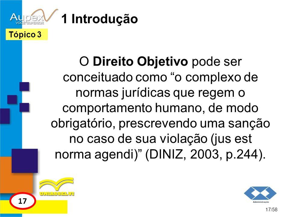 1 Introdução O Direito Objetivo pode ser conceituado como o complexo de normas jurídicas que regem o comportamento humano, de modo obrigatório, prescr