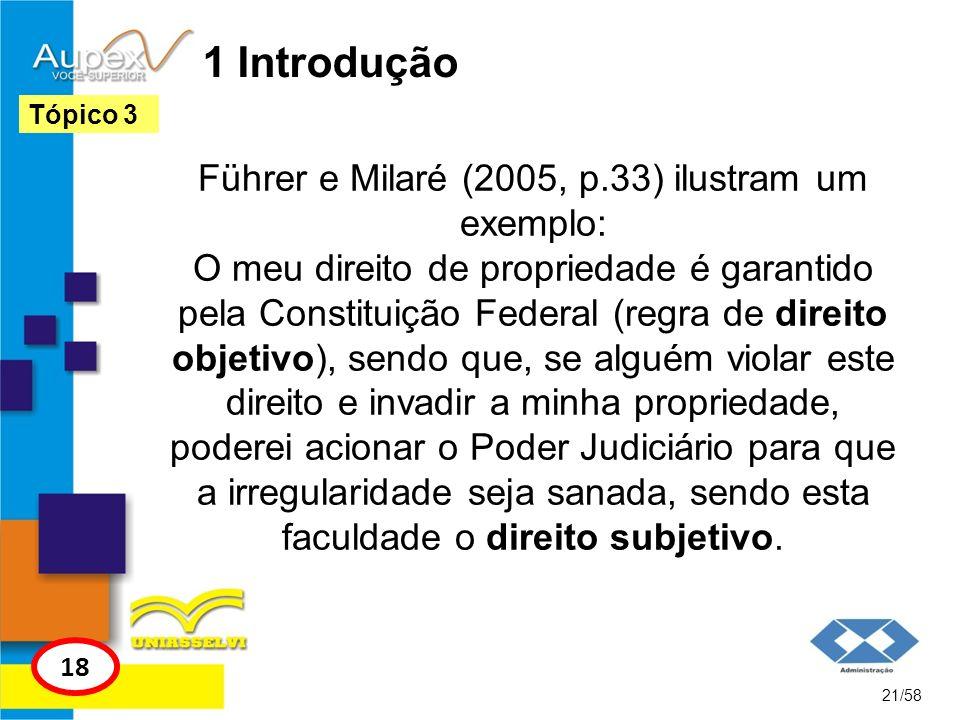 1 Introdução Führer e Milaré (2005, p.33) ilustram um exemplo: O meu direito de propriedade é garantido pela Constituição Federal (regra de direito ob