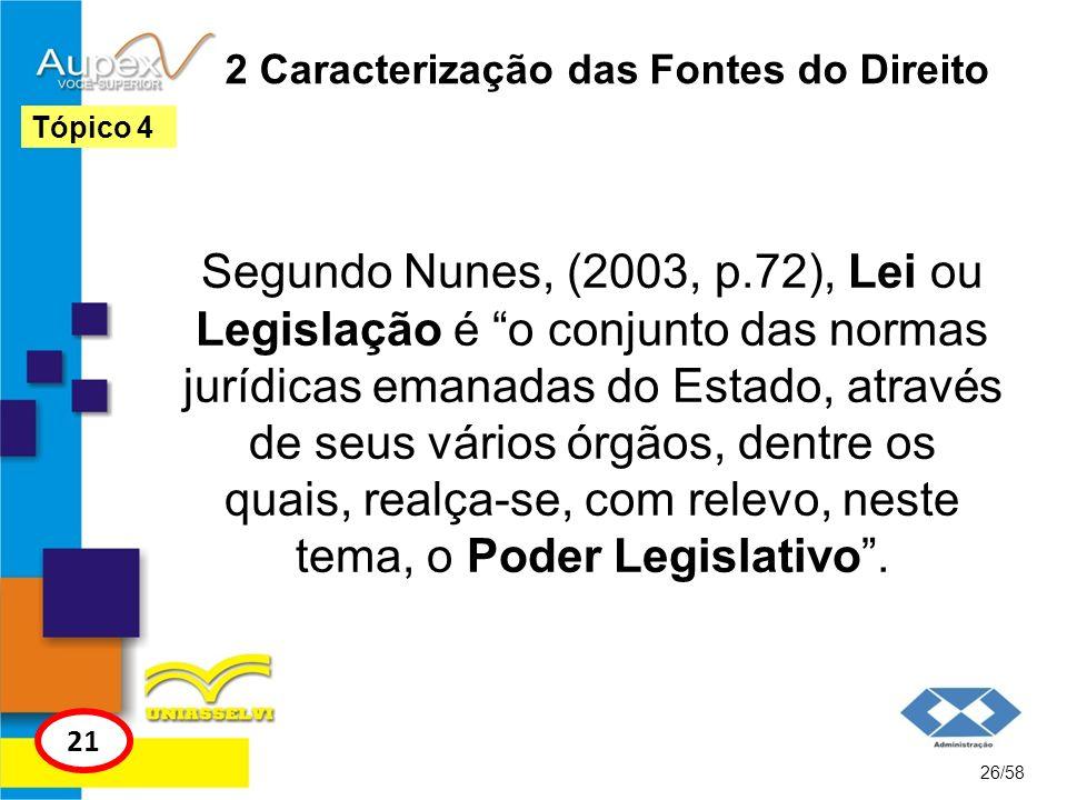 2 Caracterização das Fontes do Direito Segundo Nunes, (2003, p.72), Lei ou Legislação é o conjunto das normas jurídicas emanadas do Estado, através de