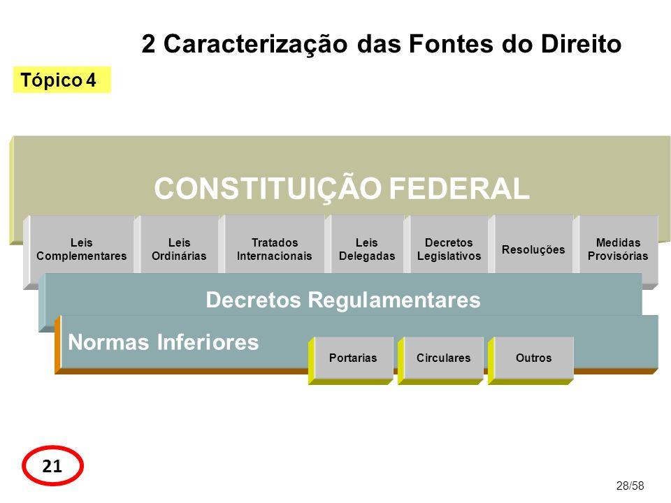 CONSTITUIÇÃO FEDERAL 28/58 Tópico 4 21 2 Caracterização das Fontes do Direito Leis Complementares Leis Ordinárias Tratados Internacionais Leis Delegad