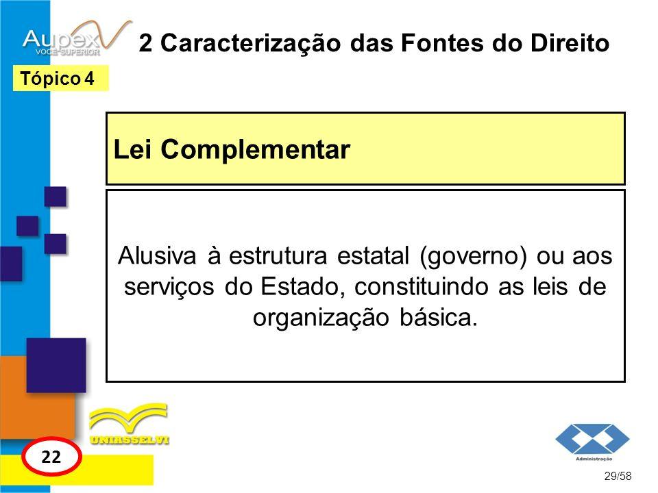 2 Caracterização das Fontes do Direito Lei Complementar 29/58 Tópico 4 22 Alusiva à estrutura estatal (governo) ou aos serviços do Estado, constituind