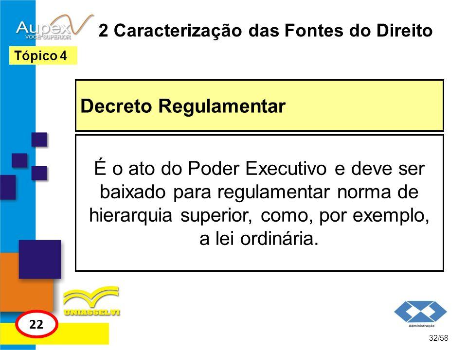 2 Caracterização das Fontes do Direito Decreto Regulamentar 32/58 Tópico 4 22 É o ato do Poder Executivo e deve ser baixado para regulamentar norma de