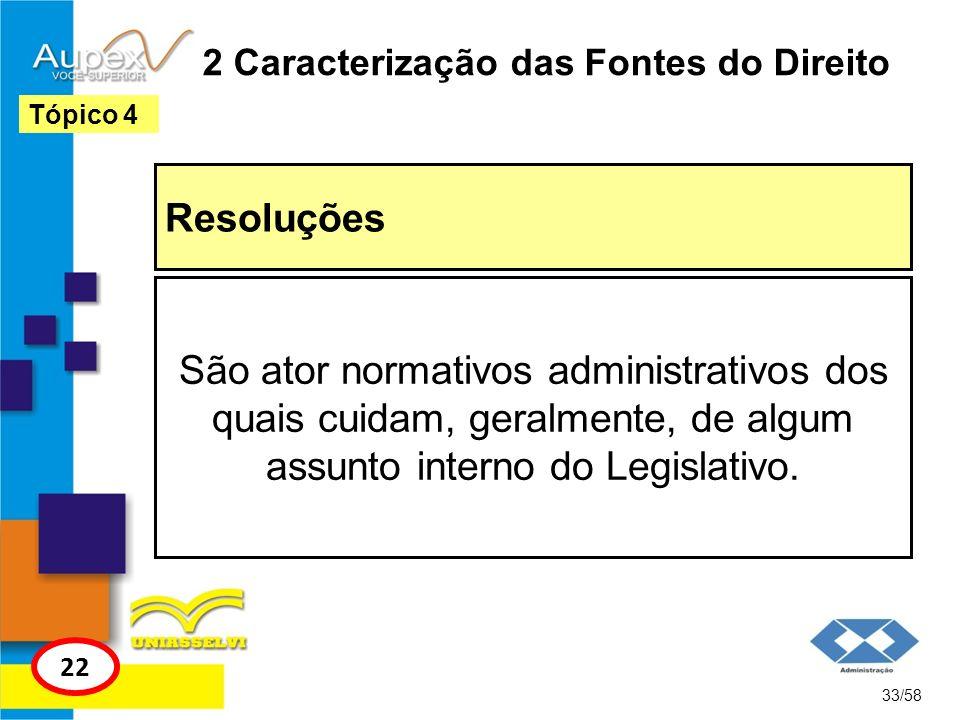 2 Caracterização das Fontes do Direito Resoluções 33/58 Tópico 4 22 São ator normativos administrativos dos quais cuidam, geralmente, de algum assunto