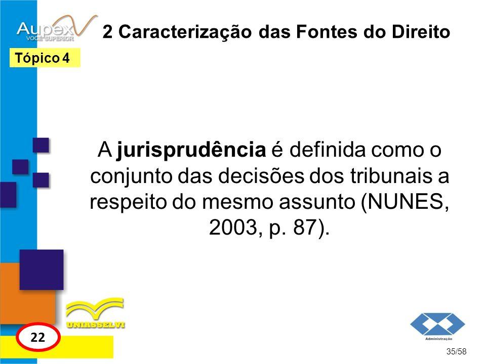2 Caracterização das Fontes do Direito A jurisprudência é definida como o conjunto das decisões dos tribunais a respeito do mesmo assunto (NUNES, 2003