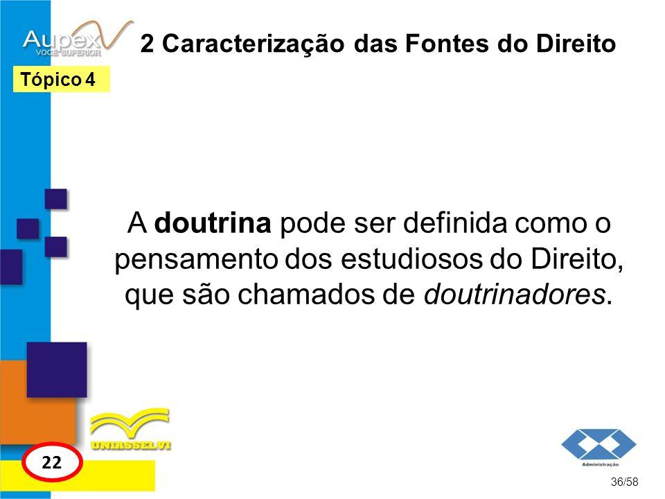 2 Caracterização das Fontes do Direito A doutrina pode ser definida como o pensamento dos estudiosos do Direito, que são chamados de doutrinadores. 36