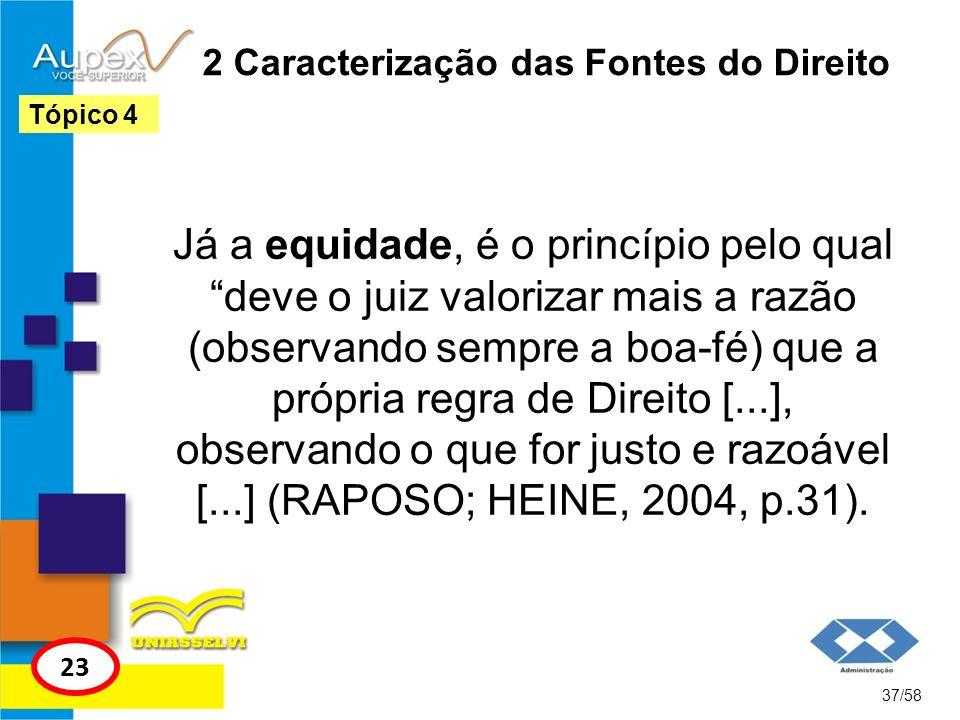 2 Caracterização das Fontes do Direito Já a equidade, é o princípio pelo qual deve o juiz valorizar mais a razão (observando sempre a boa-fé) que a pr