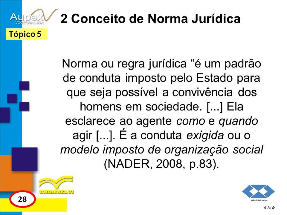 2 Conceito de Norma Jurídica Norma ou regra jurídica é um padrão de conduta imposto pelo Estado para que seja possível a convivência dos homens em soc