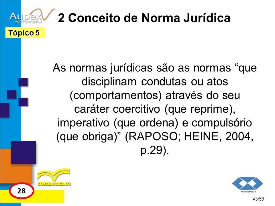 2 Conceito de Norma Jurídica As normas jurídicas são as normas que disciplinam condutas ou atos (comportamentos) através do seu caráter coercitivo (qu