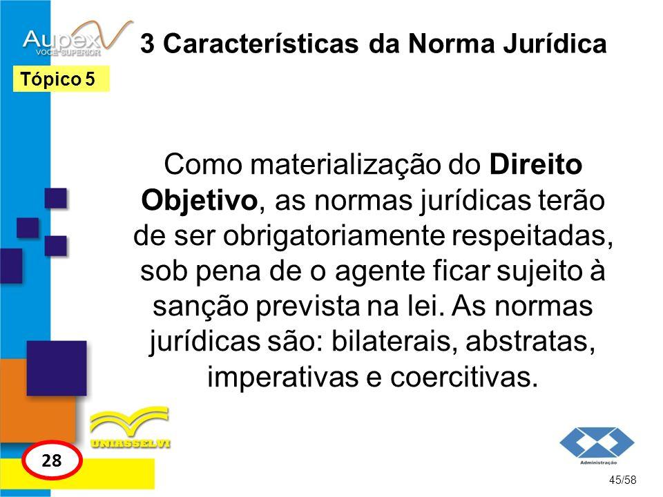 3 Características da Norma Jurídica Como materialização do Direito Objetivo, as normas jurídicas terão de ser obrigatoriamente respeitadas, sob pena d