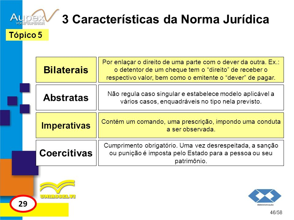 3 Características da Norma Jurídica Bilaterais 46/58 Tópico 5 29 Por enlaçar o direito de uma parte com o dever da outra. Ex.: o detentor de um cheque
