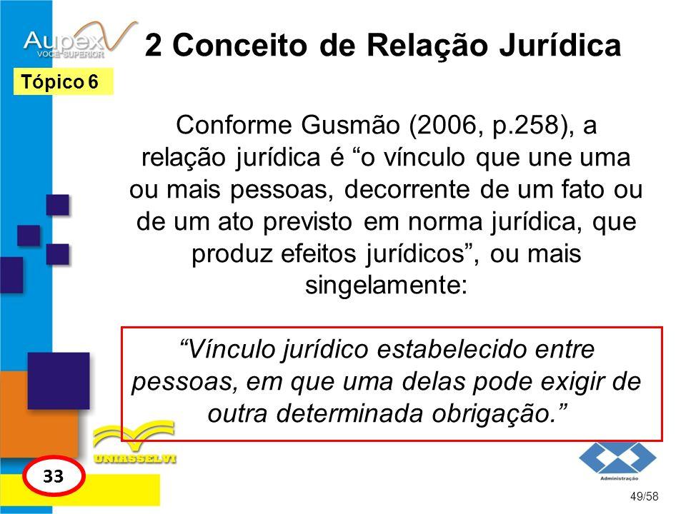 2 Conceito de Relação Jurídica Conforme Gusmão (2006, p.258), a relação jurídica é o vínculo que une uma ou mais pessoas, decorrente de um fato ou de