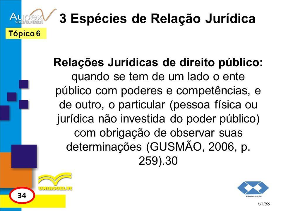 3 Espécies de Relação Jurídica Relações Jurídicas de direito público: quando se tem de um lado o ente público com poderes e competências, e de outro,