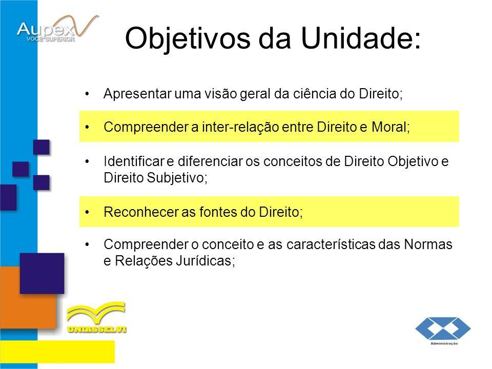 Objetivos da Unidade: Apresentar uma visão geral da ciência do Direito; Compreender a inter-relação entre Direito e Moral; Identificar e diferenciar o
