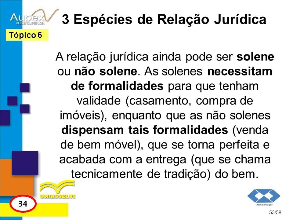3 Espécies de Relação Jurídica A relação jurídica ainda pode ser solene ou não solene. As solenes necessitam de formalidades para que tenham validade