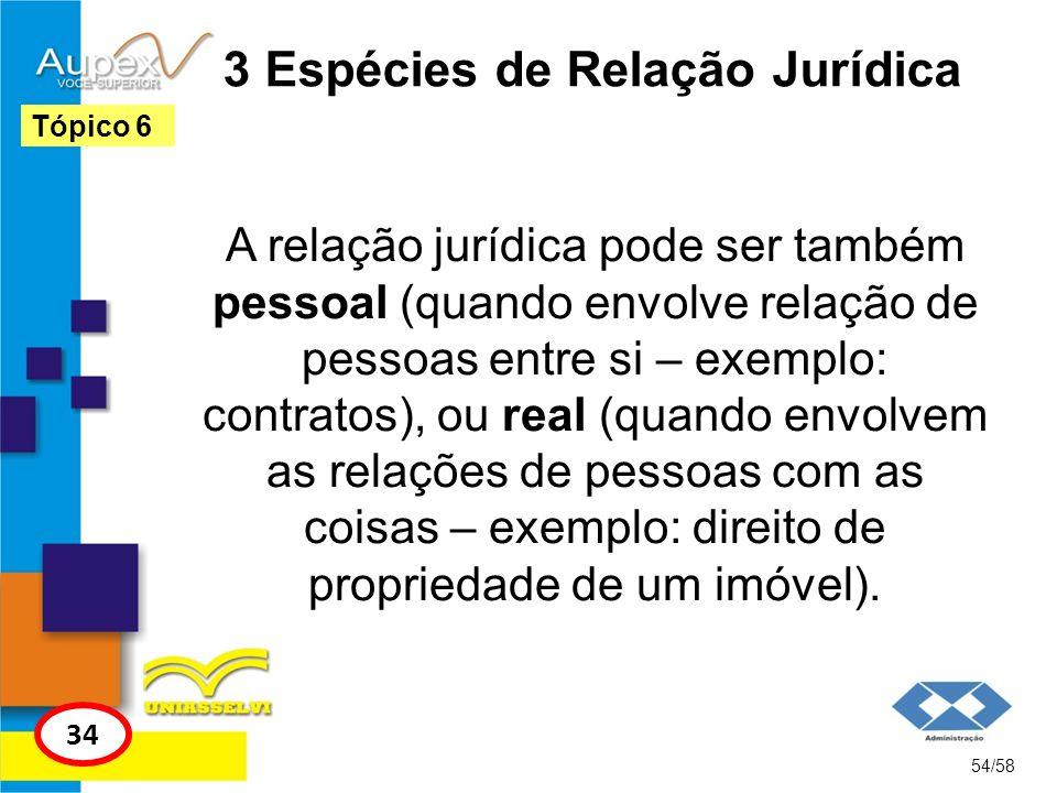 3 Espécies de Relação Jurídica A relação jurídica pode ser também pessoal (quando envolve relação de pessoas entre si – exemplo: contratos), ou real (