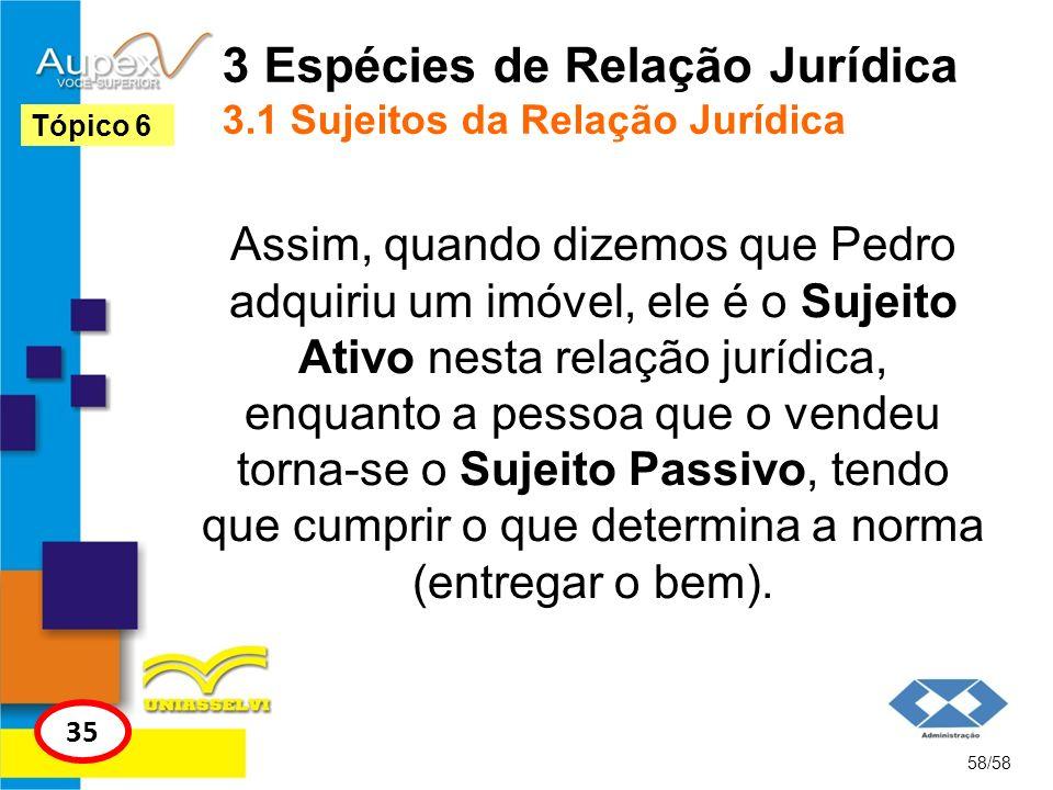 3 Espécies de Relação Jurídica 3.1 Sujeitos da Relação Jurídica Assim, quando dizemos que Pedro adquiriu um imóvel, ele é o Sujeito Ativo nesta relaçã