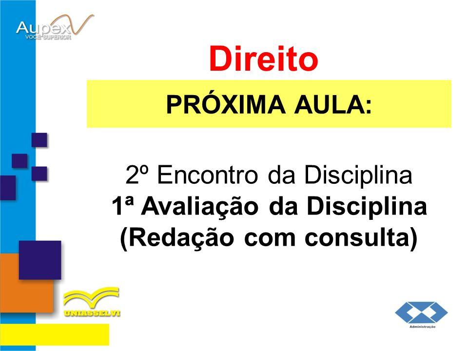PRÓXIMA AULA: Direito 2º Encontro da Disciplina 1ª Avaliação da Disciplina (Redação com consulta)