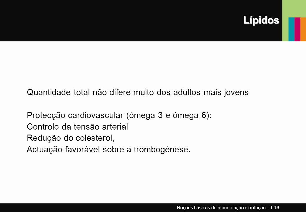 Lípidos Quantidade total não difere muito dos adultos mais jovens Protecção cardiovascular (ómega-3 e ómega-6): Controlo da tensão arterial Redução do colesterol, Actuação favorável sobre a trombogénese.