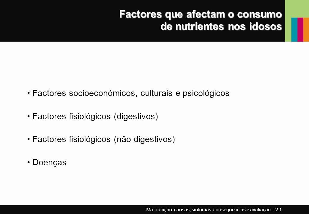 Factores que afectam o consumo de nutrientes nos idosos Factores socioeconómicos, culturais e psicológicos Factores fisiológicos (digestivos) Factores fisiológicos (não digestivos) Doenças Má nutrição: causas, sintomas, consequências e avaliação – 2.1