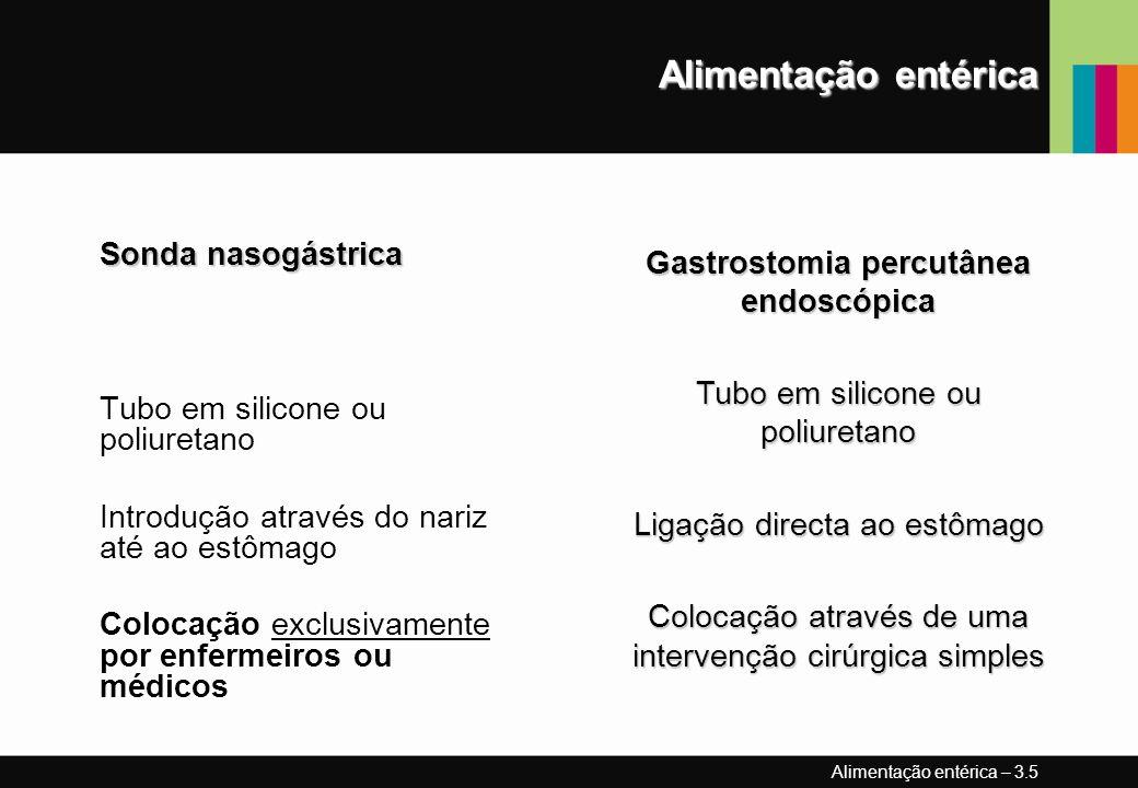 Alimentação entérica Sonda nasogástrica Tubo em silicone ou poliuretano Introdução através do nariz até ao estômago Colocação exclusivamente por enfer