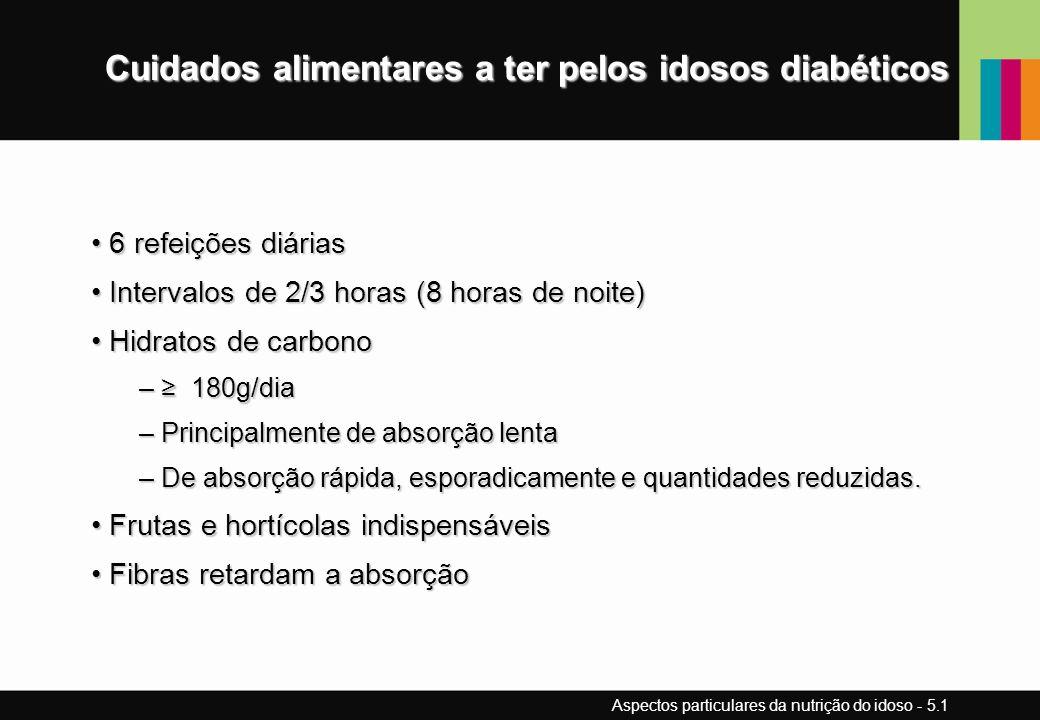 Cuidados alimentares a ter pelos idosos diabéticos 6 refeições diárias 6 refeições diárias Intervalos de 2/3 horas (8 horas de noite) Intervalos de 2/